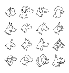 Dog icons set outline style vector