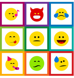 Flat icon gesture set of pouting frown laugh and vector