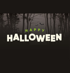 Happy-halloween-title-logo-with-night-forest vector