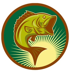 Largemouth bass jumping retro style vector