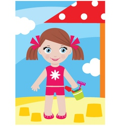 little girl in a sandbox with a bucke vector image vector image