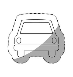 Monochrome contour sticker of automobile front vector