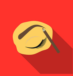Painted eyebrows icon in flat style isolated on vector