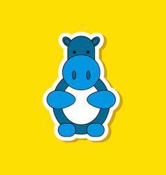 paper sticker on stylish background kids toy hippo vector image vector image
