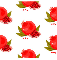 red fresh pomegranate pattern art food design vector image vector image