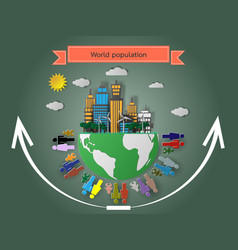 Rise of the world population vector