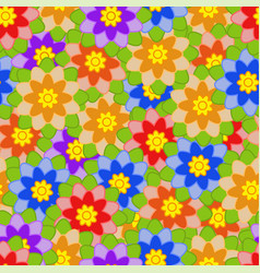 Seamless pattern of colorful flowers with green vector