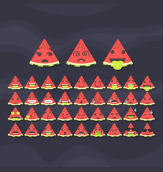 set of cute fruit smiley watermelon emoticons vector image