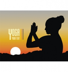 Silhouette of a woman meditating vector