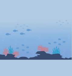 Silhouette of underwater with fish and reef vector