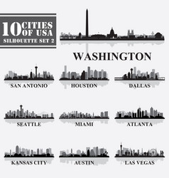 Silhouettes cities of usa set 2 in grayscale vector