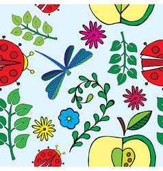 spring florals and bugs print vector image
