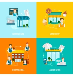 Store building flat set vector image vector image