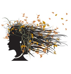 Silhouette of floral autumn girl vector