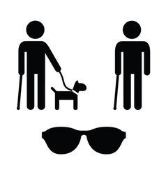 Blind man icons set - with guide dog cane vector