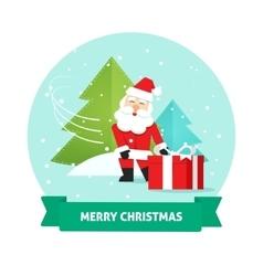 Santa claus gift box merry christmas card new vector