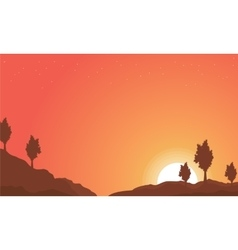 Landscape of hill with orange sky backgrounds vector