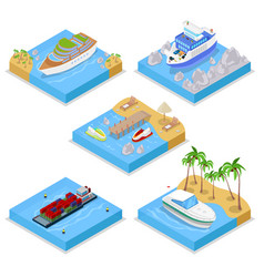 Isometric water transportation set with cruise vector