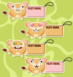 Four cute cartoon lions stickers set1 vector
