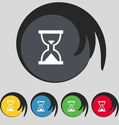 Hourglass sand timer icon sign symbol on five vector