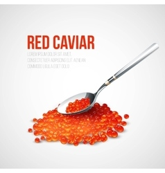 Red caviar in a spoon over blue background vector