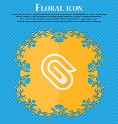 paper clip Floral flat design on a blue abstract vector image
