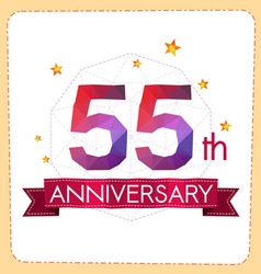 Colorful polygonal anniversary logo 2 055 vector