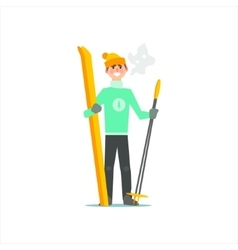 Man With Skies And Poles vector image
