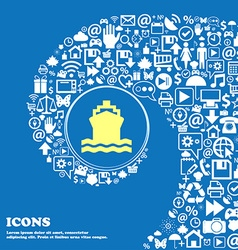 ship sign symbol Nice set of beautiful icons vector image
