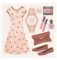 GurFashion set in pastel tones with a dress vector image