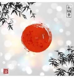 Bamboo leaves and red sun vector