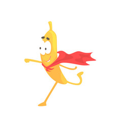 Banana superhero cartoon funny fruit character vector