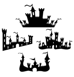 Black castle silhouettes set on white vector