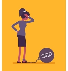 Businesswoman chained with a weight credit vector