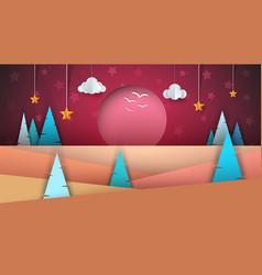 Cartoon paper landscape sun fir cloud star vector