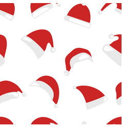 christmas hat seamless pattern isolated on white vector image vector image