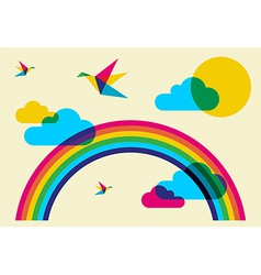 Colorful humming birds and rainbow vector image vector image