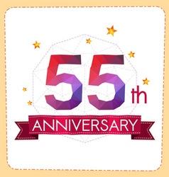 Colorful polygonal anniversary logo 2 055 vector