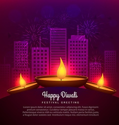 Diwali diya place infront of building design vector