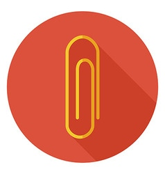 Flat office paper clip circle icon with long vector