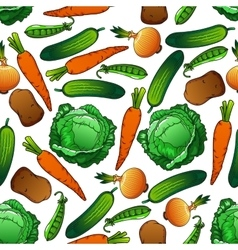 Fresh farm vegetables seamless pattern vector image vector image