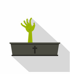 Green zombie hand coming out of his coffin icon vector