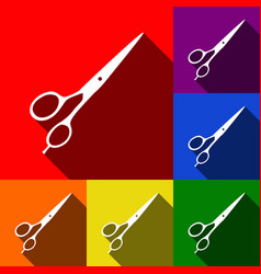 hair cutting scissors sign set of icons vector image