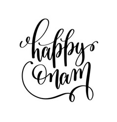 Happy onam hand lettering calligraphy holiday vector