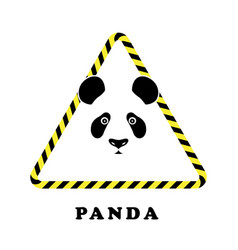 icon head panda in a triangle tape danger vector image vector image
