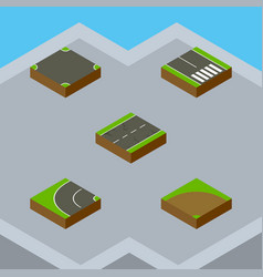 Isometric way set of crossroad way pedestrian vector