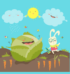 Little rabbit and cabbage field vector