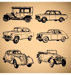 Modern and vintage cars silhouettes collection vector