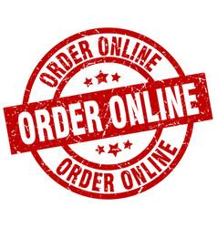 Order online round red grunge stamp vector