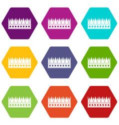 Regal crown icon set color hexahedron vector